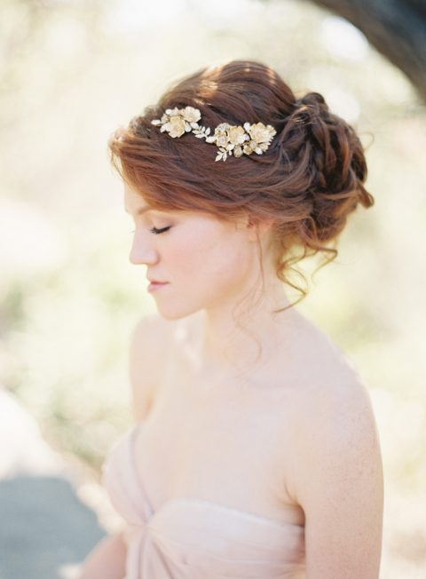 Style 208 Gold Floral Bridal Hair Comb - © SIBO Designs Bridal Adornments & Veils