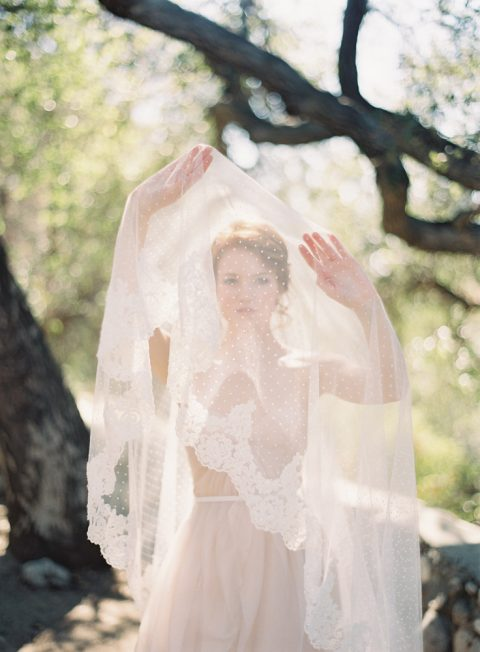 Allure - Beaded Alencon Lace Polka dot Bridal Veil - © SIBO Designs Bridal Adornments & Veils