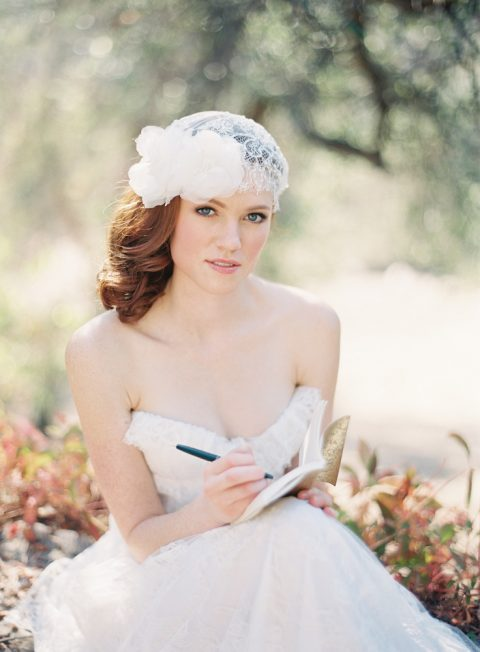 Style 210 Lace and Silk Flower Bridal Juliet Cap - © SIBO Designs Bridal Adornments & Veils