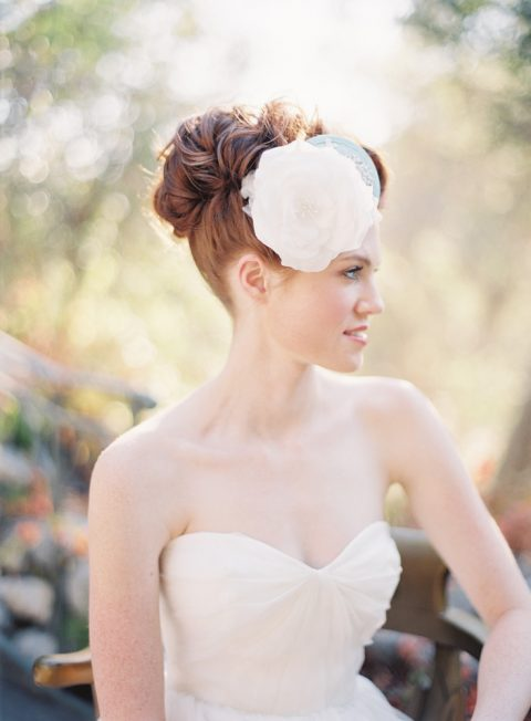 Style 214 Silk Flower Bridal Fascinator - © SIBO Designs Bridal Adornments & Veils