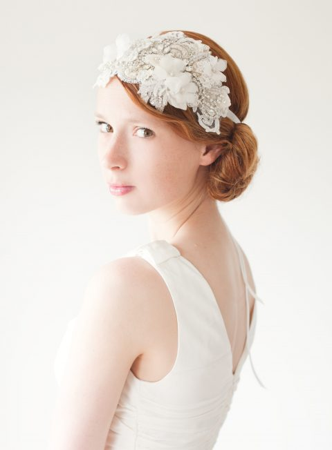 Heart Whispers - Lace and Crystal Flapper Bridal Headpiece - © SIBO Designs Bridal Adornments & Veils