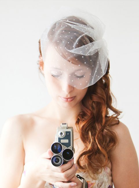 Polka dot Blusher Birdcage Veil - © SIBO Designs Bridal Adornments & Veils