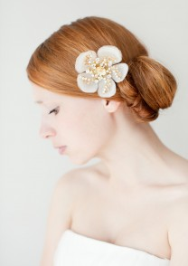 Bridal Hair Piece, Floral, Swarovski Crystal - Style 224 - Copyright by SIBO Designs 2013