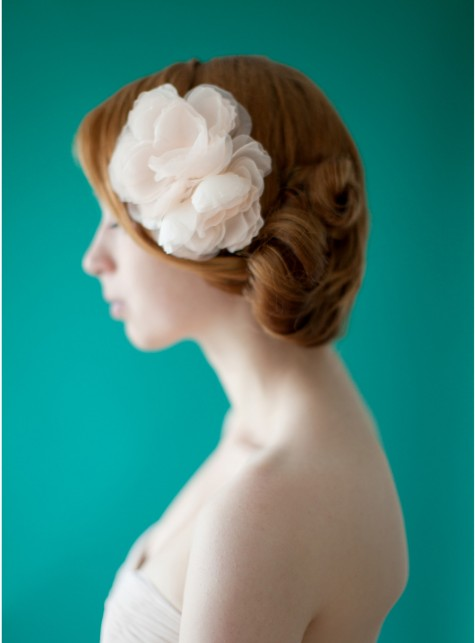 Blush Silk Flower Bridal Headpiece