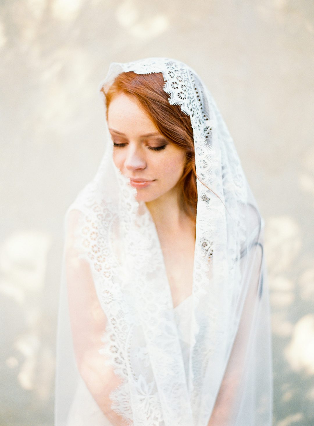 Long Cathedral Mantilla Veil with ivory lace trim, handmade by SIBO Designs www.sibodesigns.com