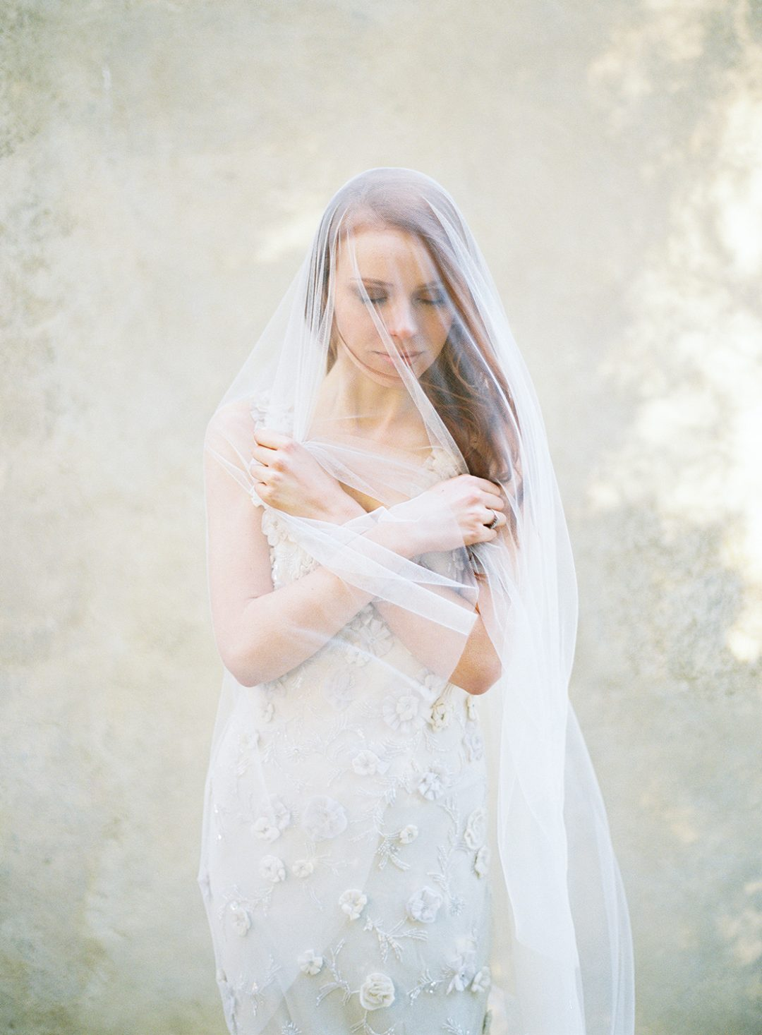 Soft tulle wedding veil with blusher, handmade by SIBO Designs www.sibodesigns.com