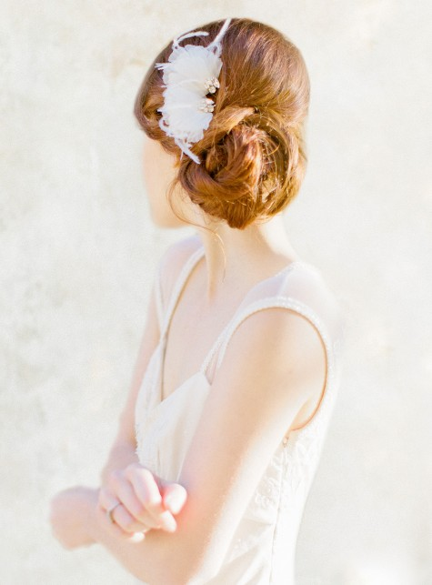Silk Petal Feather Hair Pins