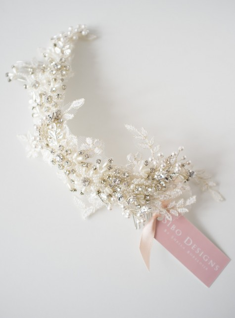 pearl crystal bridal headpiece
