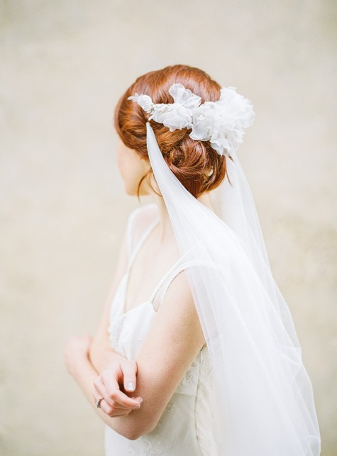 Tulle draped Bridal Veil
