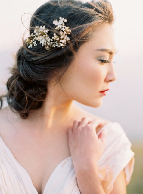 SIBO Designs 2015 Windswept Collection - Style 414 Crystal and Flower Bridal Hair piecea