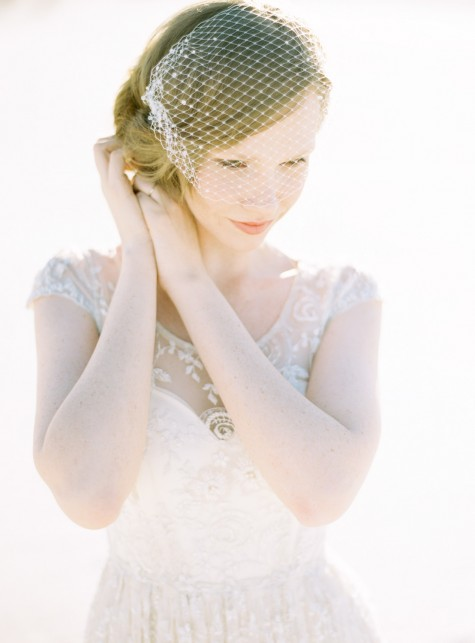 SIBO Designs 2015 Windswept Collection - Style 415 Beaded Birdcage Veil
