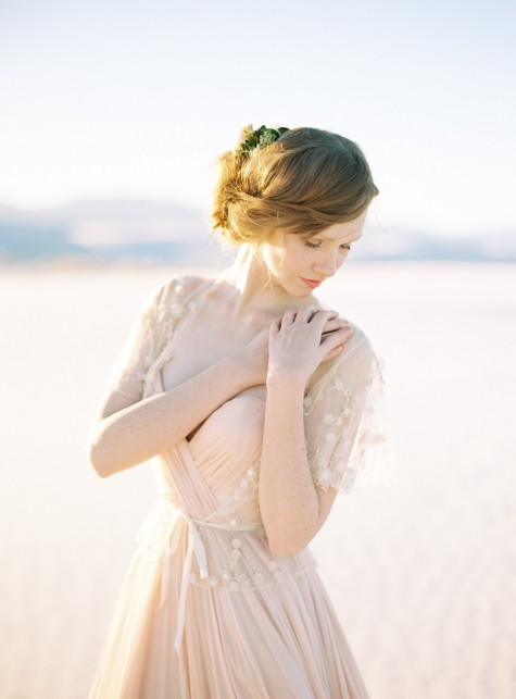 SIBO Designs 2015 Windswept Collection - Style 418 Blush Flower Tulle Bridal Cape