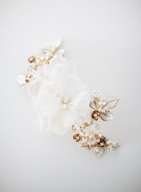 SIBO Designs 2015 Windswept Collection - Style 411 Silk Floral Bridal Headpiece