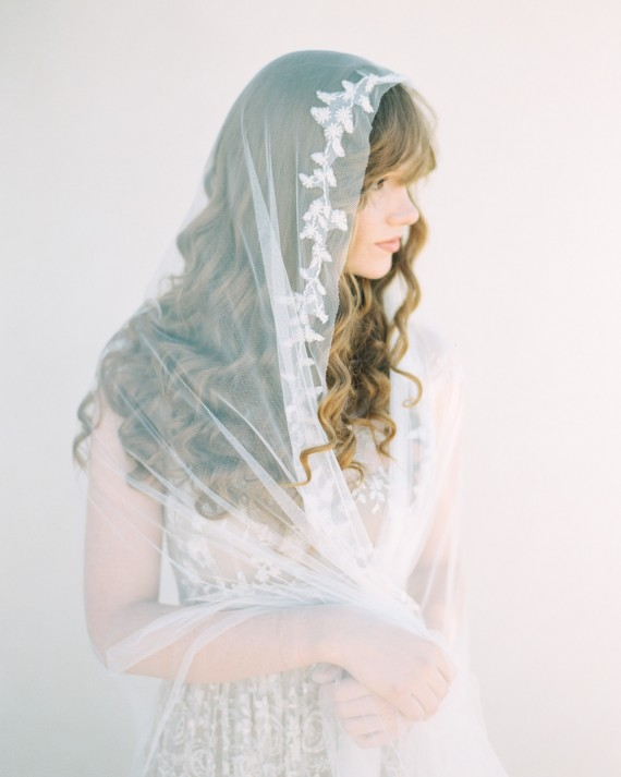 SIBO Designs 2015 Windswept Collection - Style 403 Beaded Vine Applique Bridal Veil
