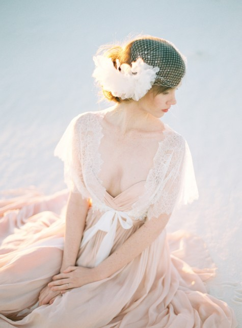 SIBO Designs 2015 Windswept Collection - Style 409 Birdcage veil and Silk Petal Hair Comb