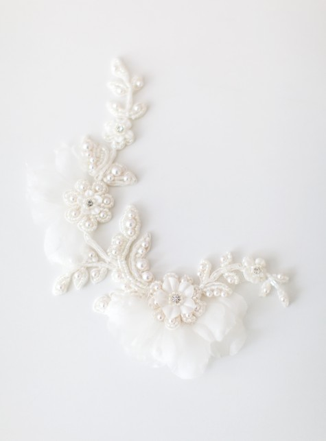 SIBO Designs 2015 Windswept Collection - Style 420 Floral Lace Beaded Bridal Headpiece