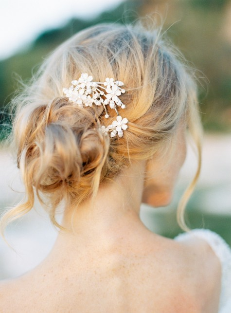 Style 506 - Floral Bridal Hair Pin - © SIBO Designs Bridal Adornments & Veils