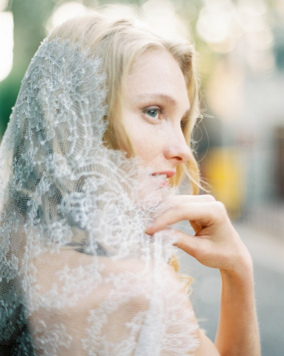 Style 510 - Chantilly Lace Mantilla Veil - © SIBO Designs Bridal Adornments & Veils