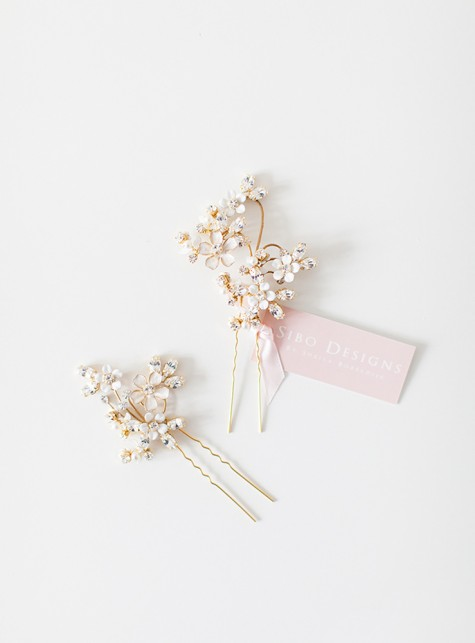 Style 507 - Floral Bridal Hair Pins - © SIBO Designs Bridal Adornments & Veils