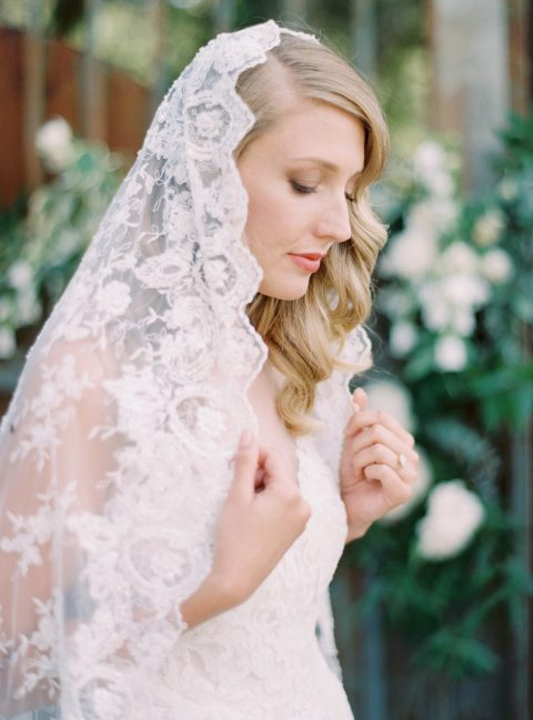 Style 512 - Beaded Lace Mantilla Bridal Veil - © SIBO Designs Bridal Adornments & Veils