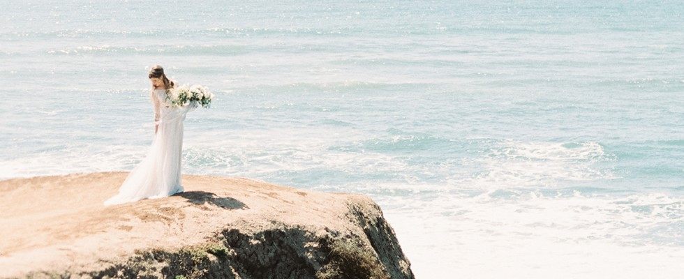 California cliffside bridal editorial shoot - © SIBO Designs Bridal Adornments & Veils