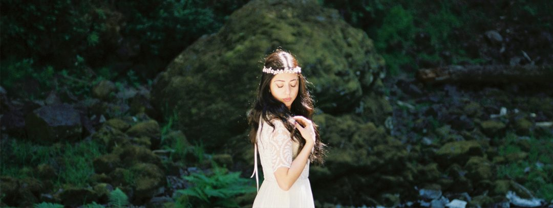 SIBO Designs Heirloom Bridal Accessories & Gowns - Waterfall Bridal Shoot in Oregon - Photography by Brian Whitt