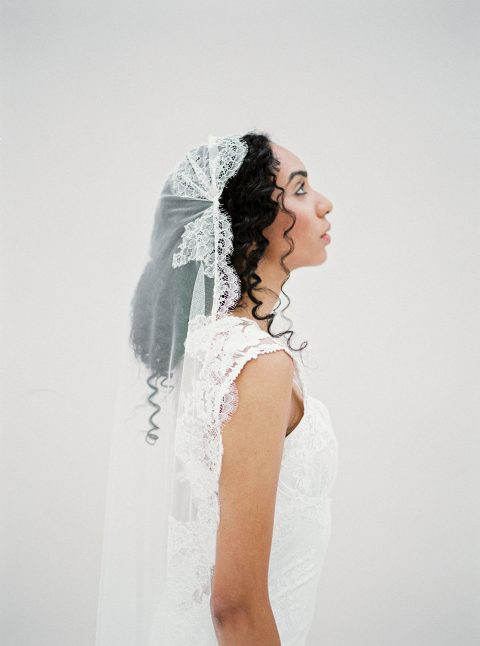 Chantilly Lace Juliet cap veil made with delicate tulle and ivory lace, handmade by SIBO Designs www.sibodesigns.com