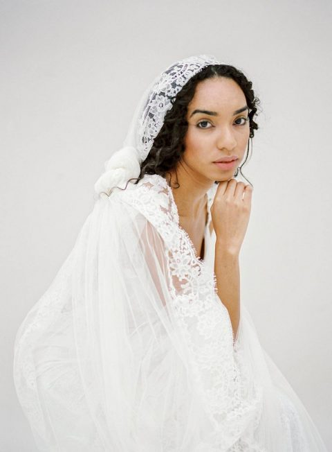 Style 611 - Lace Mantilla Veil - © SIBO Designs Bridal Adornments & Veils