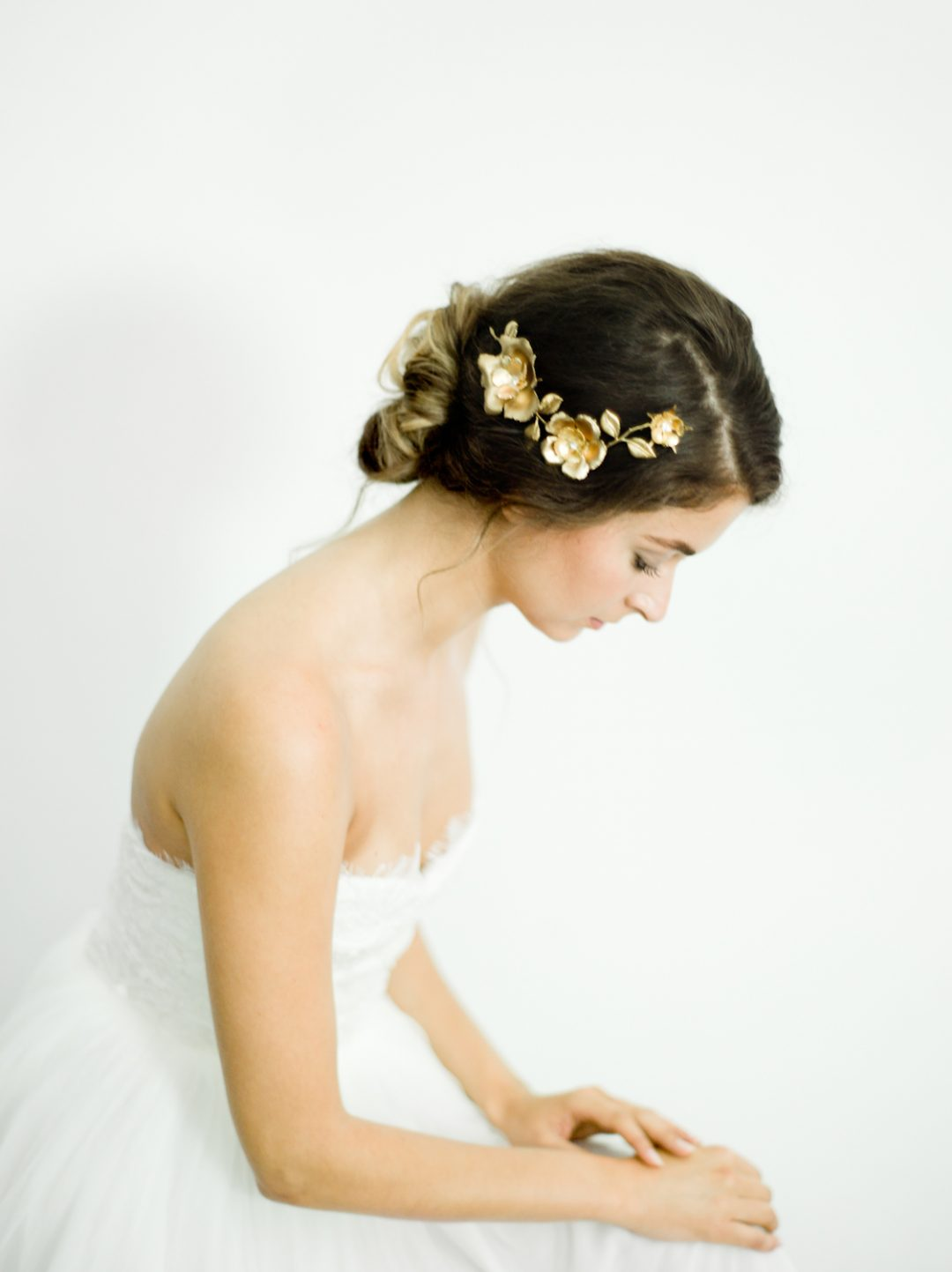 """SIBO Designs 2018 Collection - """"Style 701"""" Brass Floral Bridal Headpiece www.sibodesigns.com"""