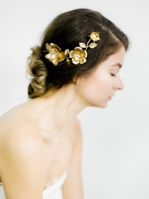 "SIBO Designs 2018 Collection - ""Style 701"" Brass Floral Bridal Headpiece www.sibodesigns.com"