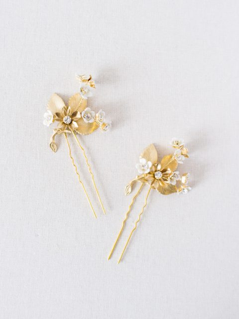 "SIBO Designs 2018 Collection - ""Style 725"" Gold Floral Bridal Hair Pins www.sibodesigns.com"