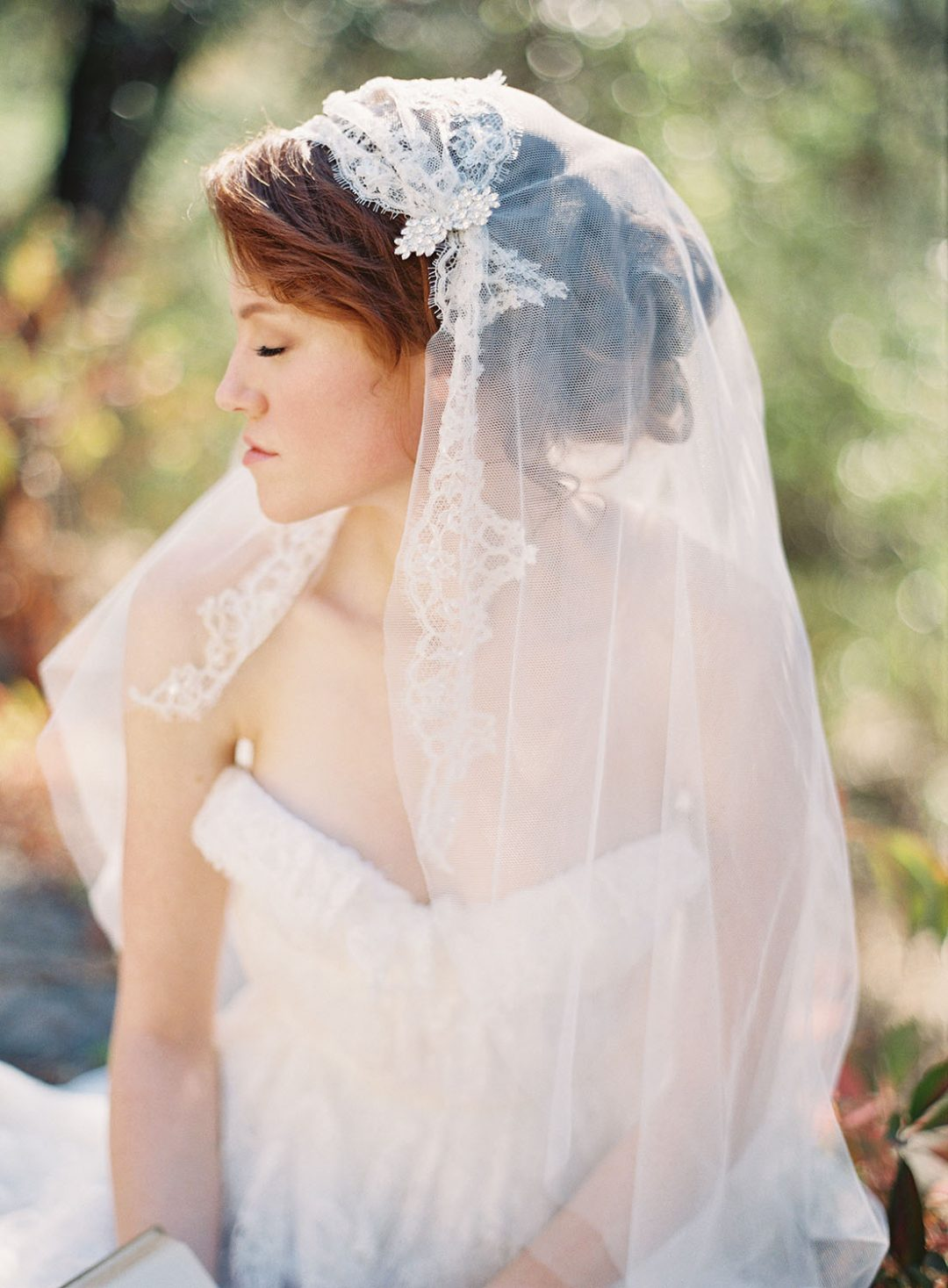 Juliet Cap Bridal Veil, Ivory Lace Juliet Cap Wedding Veil by ww