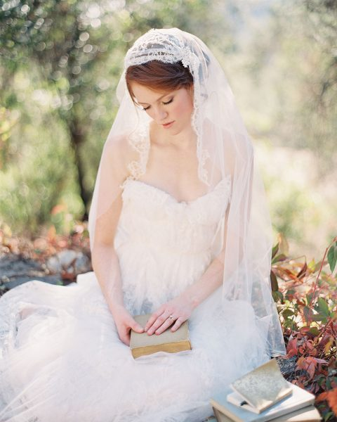 Ivory Chantilly Lace Juliet Cap Bridal veil with delicate beading, handmade by SIBO Designs www.sibodesigns.com