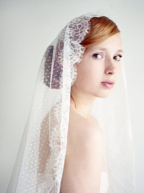 Style 233 - Dotted Lace Mantilla Veil - © SIBO Designs Bridal Adornments & Veils
