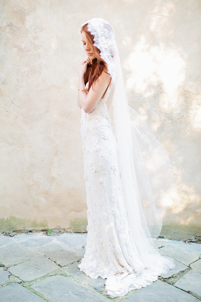 beaded lace bridal veil