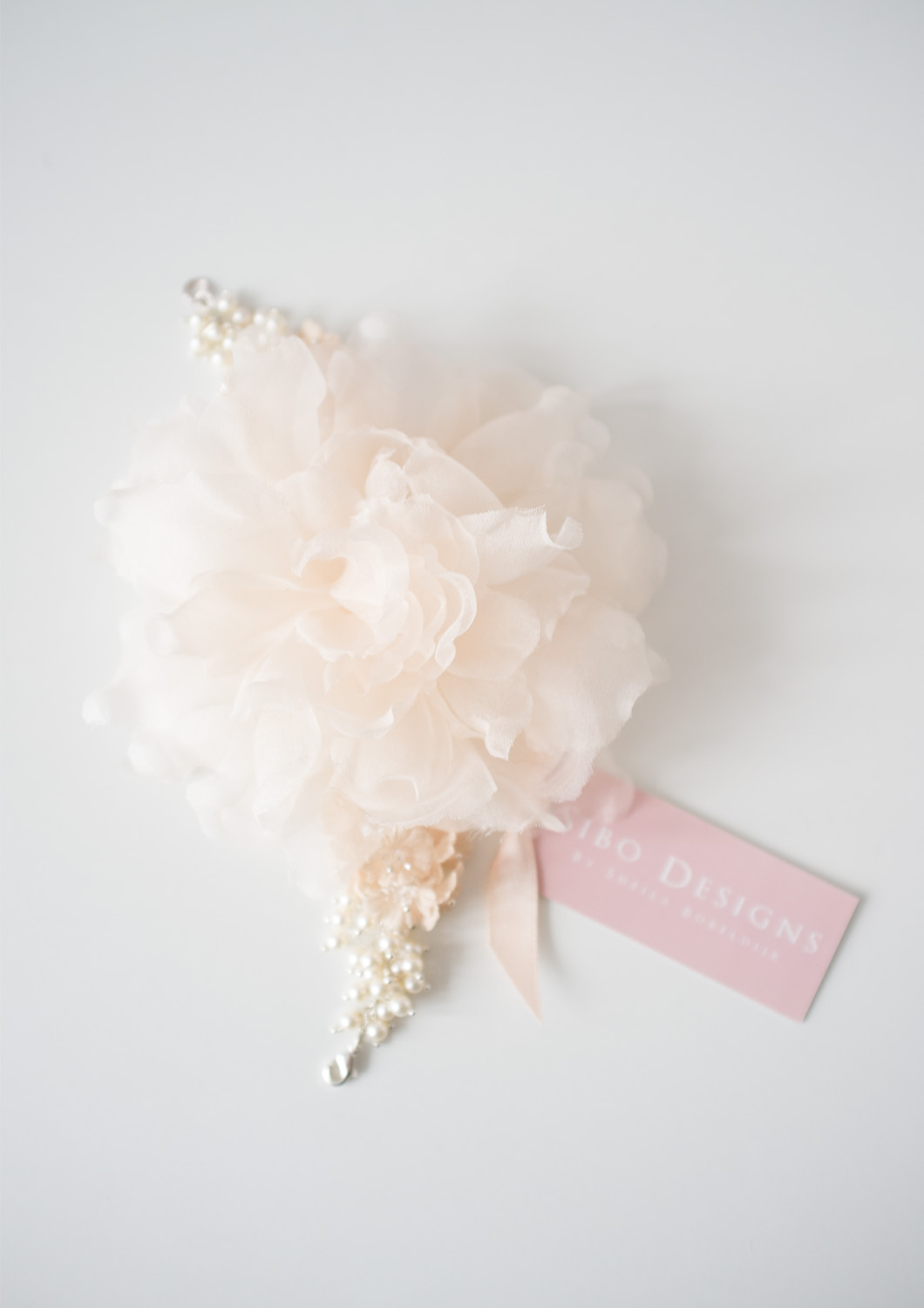 Silk Flower Pearl Beaded Wrist Corsage