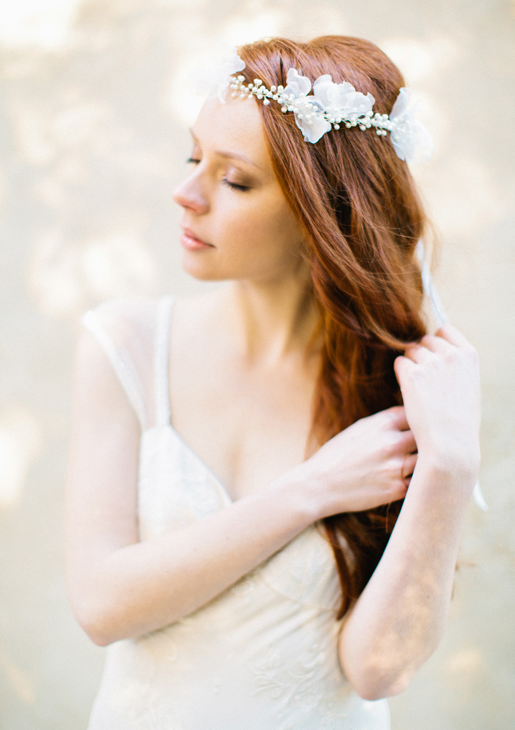 bohemian pearl silk flower headband