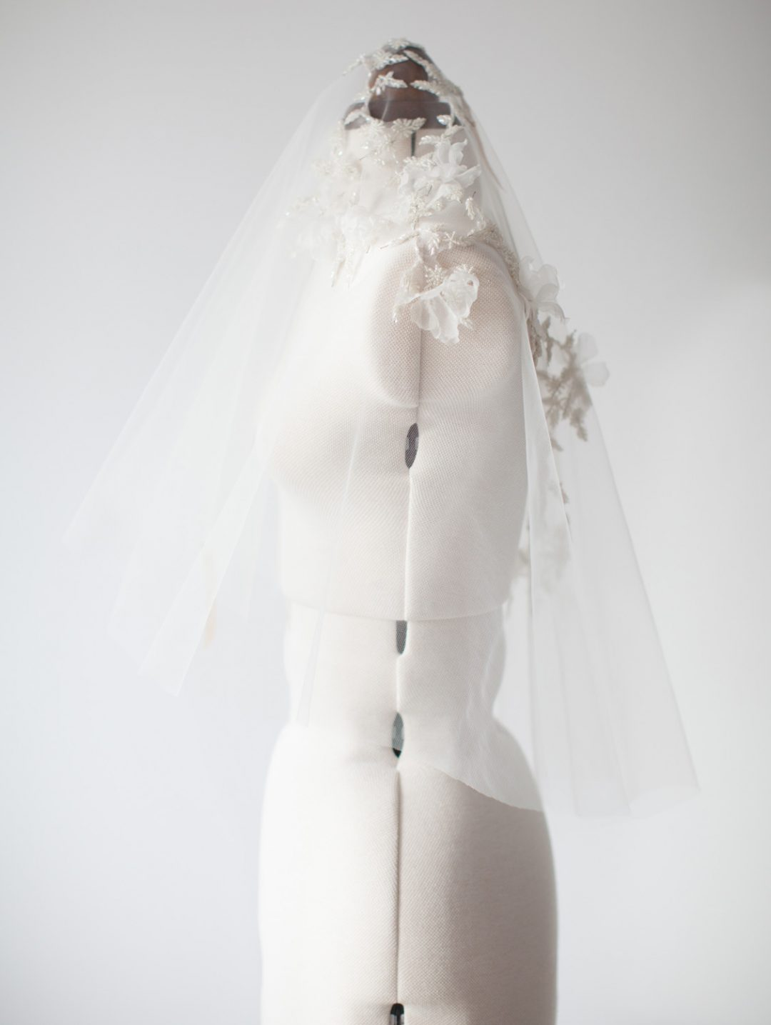 SIBO Designs 2015 Windswept Collection - Style 406 Beaded Vine Applique Floral Bridal Veil