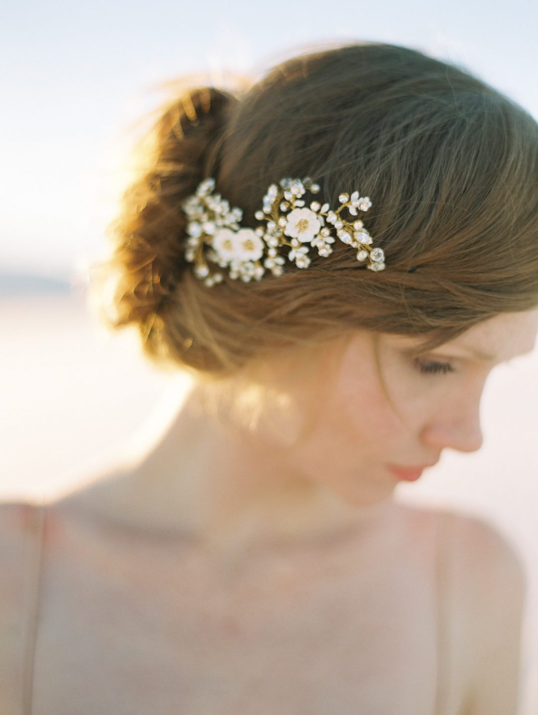 SIBO Designs 2015 Windswept Collection - Style 410 Enamel Flower Bridal Headpiece