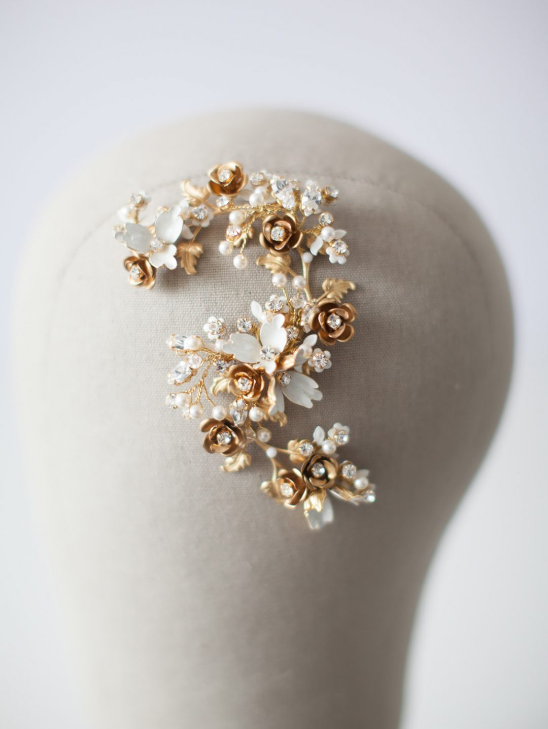 SIBO Designs 2015 Windswept Collection - Style 414 Crystal and Flower Bridal Hair piece