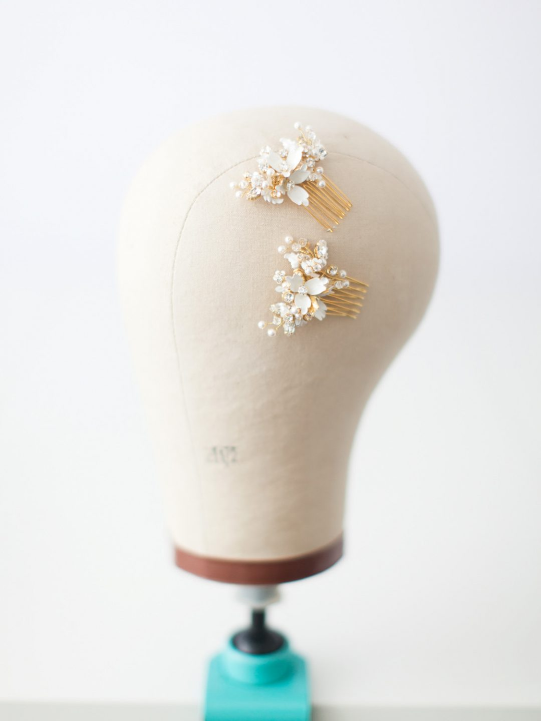SIBO Designs 2015 Windswept Collection - Style 421 Enamel Floral Bridal Hair Comb Set