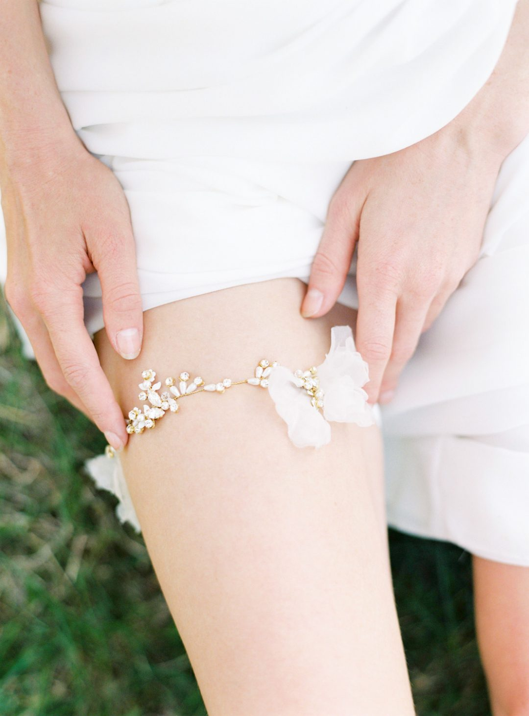 Silk Flower Bridal Garter - © SIBO Designs Bridal Adornments & Veils