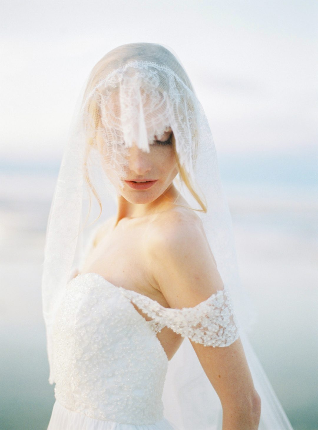 Style 513 - Chantilly Lace Blusher Veil - © SIBO Designs Bridal Adornments & Veils