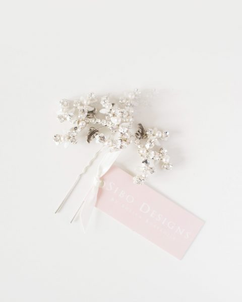 Style 515 - Brass Crystal Vine Bridal Hair pin - © SIBO Designs Bridal Adornments & Veils