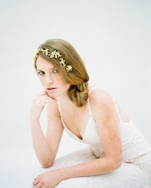 Style 607 - Crystal Flower Headband - © SIBO Designs Bridal Adornments & Veils