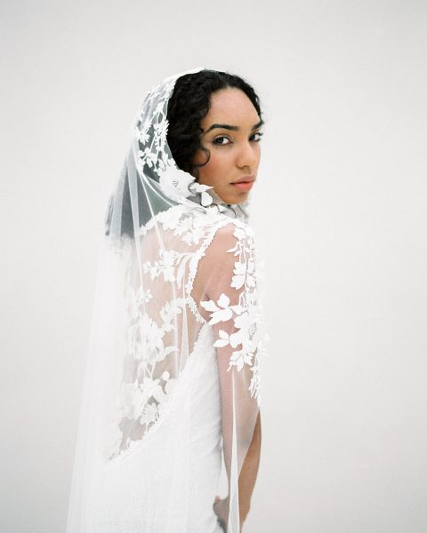Style 616 - Floral Bridal Veil - © SIBO Designs Bridal Adornments & Veils