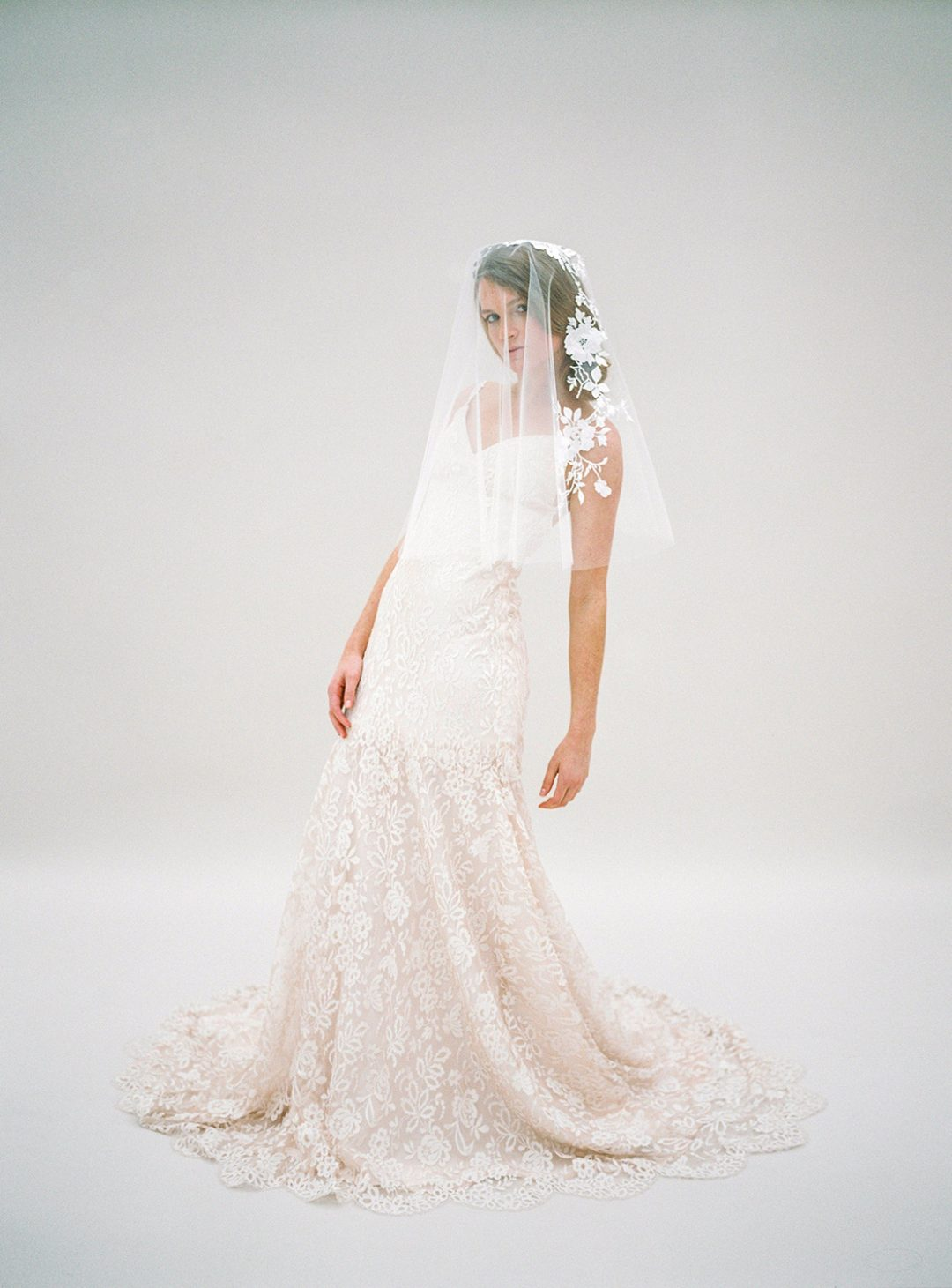 Style 617 - Embroidered Bridal Veil - © SIBO Designs Bridal Adornments & Veils