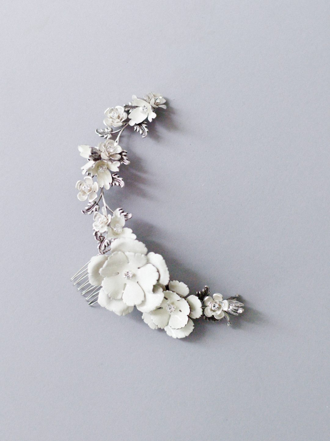"""SIBO Designs 2018 Collection - """"Style 708"""" Ivory Floral Bridal Headpiece www.sibodesigns.com"""