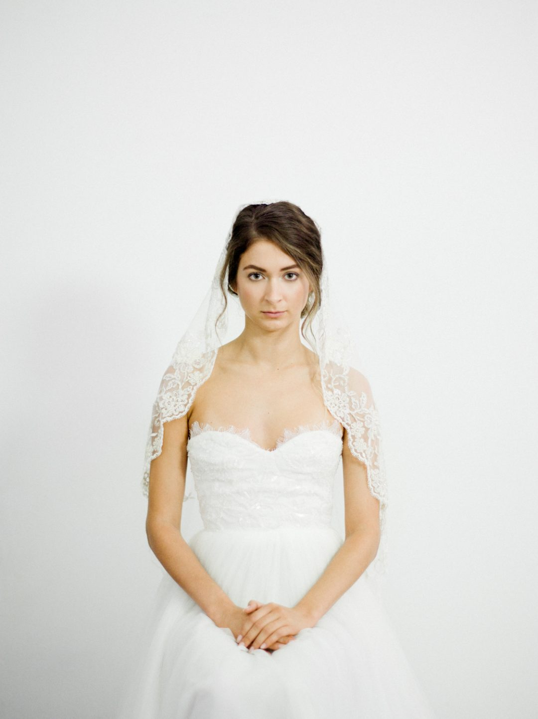 """SIBO Designs 2018 Collection - """"Style 711"""" Beaded Lace Mantilla Bridal Veil www.sibodesigns.com"""