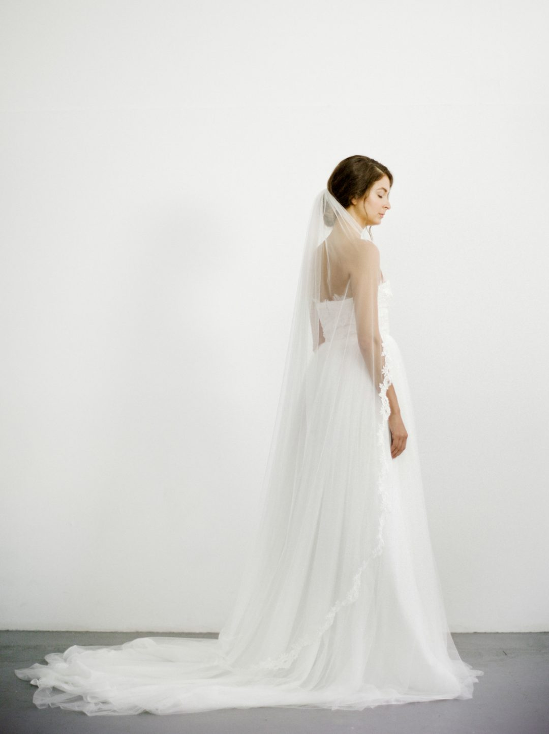 "SIBO Designs 2018 Collection - ""Style 714"" Corded Lace Draped Bridal Veil www.sibodesigns.com"